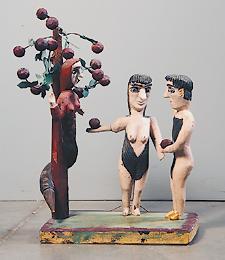 Деревянные Адам и Ева от сельского скульптора Владимира Зазнобина